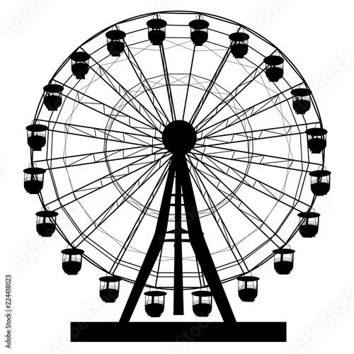 Fototapeta Silhouette atraktsion colorful ferris wheel on white background illustration obraz