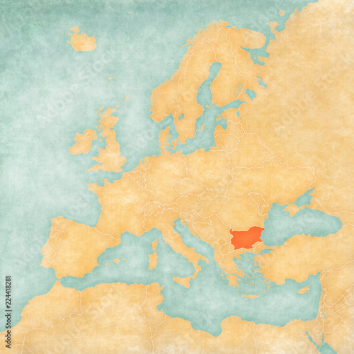 Map of Europe - Bulgaria Canvas Print