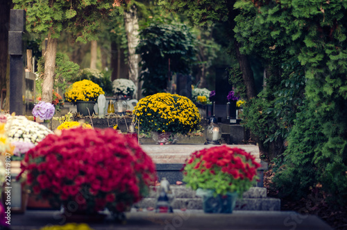 Canvas Prints Historical buildings All Saints Day in the cemetery