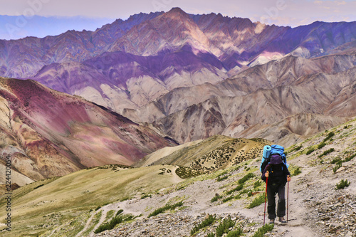 Foto op Aluminium Snoeien Front view of a woman tourist figure with a large backpack climbing steep rocky slope with beautiful colorful Himalaya mountains in the background, Ladakh, India.