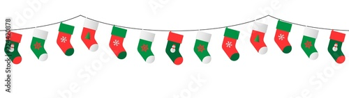 christmas stockings garland Tableau sur Toile
