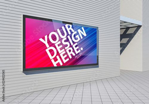 2 Horizontal Advertising Kiosk On Wall Mockups Acheter Ce Template