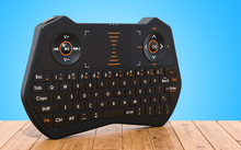 Mini Wireless Bluetooth Keyboard On The Wooden Table, 3D Rendering