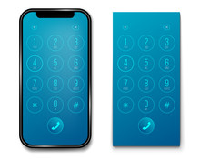 Creative Vector Illustration Of Phone Dial, Keypad With Numbers Isolated On Transparent Background. Art Design Smartphone Touchscreen Device. Abstract Concept Graphic User Interface Element