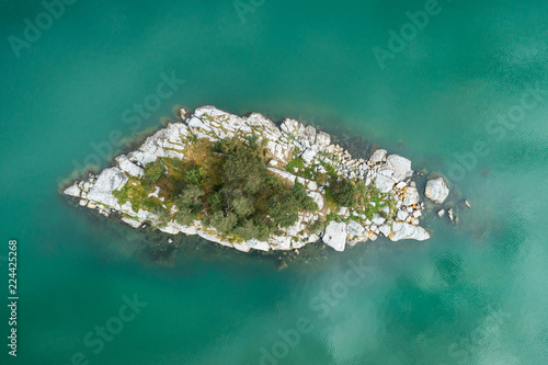Fototapety, obrazy: Island in Water of Fjord. Norway. Aerial Vertical Top-Down View