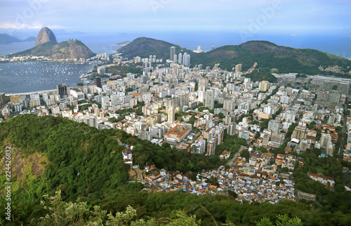 Aerial view of Rio de Janeiro Cityscape with the famous Sugarloaf mountain in the distance, Brazil, South America