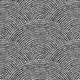 Seamless embroidered black and white pattern. Wavy ornament draw by hand. Grunge print for textile in patchwork style. Vector illustration. - 224437251