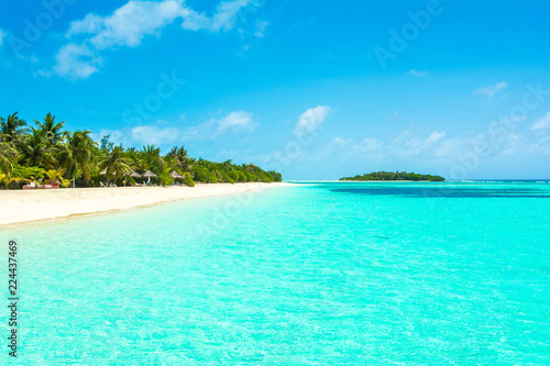 Canvas Prints Green coral Beautiful sandy beach with sunbeds and umbrellas in Indian ocean, Maldives island