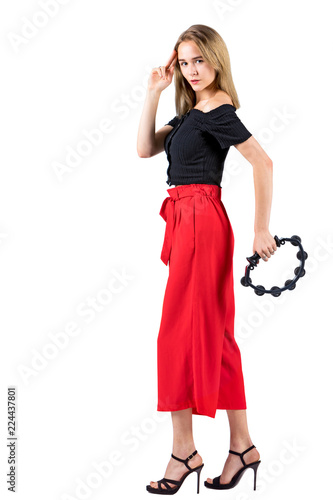 Canvas Print Blond longhaired woman with a tambourine in hands