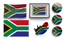 Set Of South Africa Flags Collection Isolated