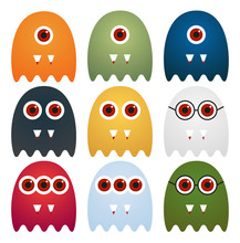 Set Of 9 Cute Ghosts With One,...