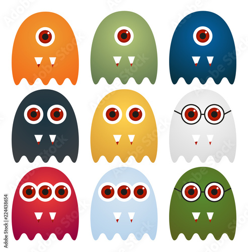 Obraz na plátně Set of 9 cute ghosts with one, two or three eyes or glasses, with sharp tooth wi