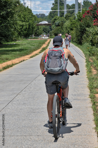 The Atlanta BeltLine (path/greenspace) with unidentifiable people biking and wal Canvas Print
