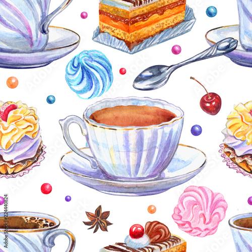 bezszwowy-wzor-filizanki-i-cukierki-na-bialym-tle-akwareli-ilustracja-herbata