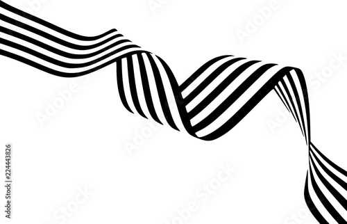 fototapeta na ścianę Abstract black and white stripes smoothly bent ribbon geometrical shape