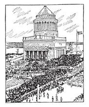 Tomb Of General Ulysses S. Grant Vintage Illustration.