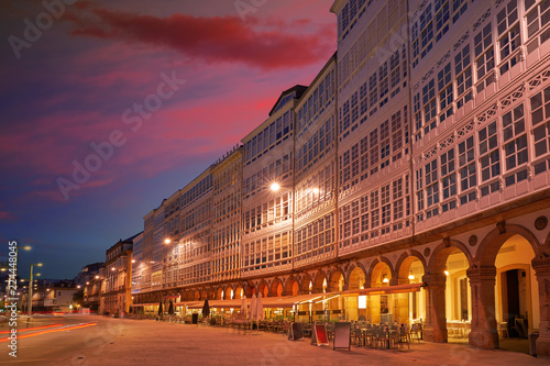 La Coruna facades sunset near Port in Galicia Spain