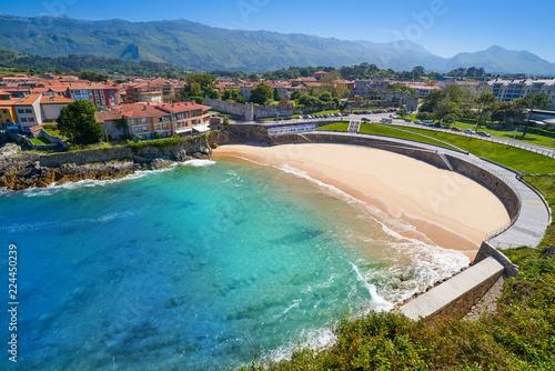 Photo  Llanes El Sablon beach in Asturias Spain