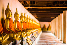 Golden Buddha Is Lined Up At Wat Phutthaisawan, Phra Nakhon Si Ayutthaya, The Worship Of Buddhism In Thailand, The Great Archaeological Site Of Thailand,Is A Buddhist Mind Sticker.