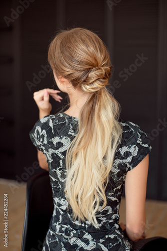 Unrecognizable Rear View Of Woman Hairstyle Half Length Back View