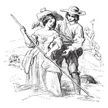 Haymaking Is A Painting By William Mulready, Vintage Engraving.
