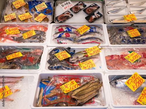 Fotografie, Obraz  Tsukiji Fish Market stall in Tokyo