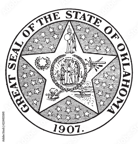 Fotografija  The Great Seal of the State of Oklahoma, 1907, vintage illustration