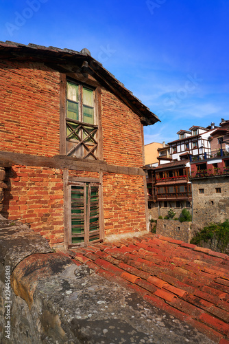 Fotobehang Oude gebouw Potes village facades in Cantabria Spain