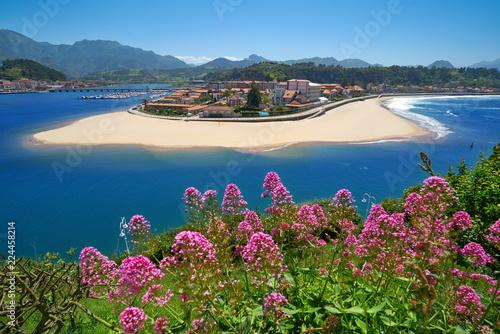 Ribadesella village aerial view in Asturias Spain Canvas Print