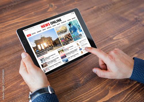 Sample online news website on tablet
