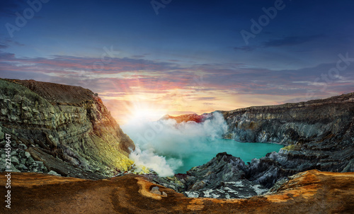 Poster Bleu nuit Panorama Nature Landscape View of Blue Lake , Kawah Ijen Volcano in Sunrise Time - Popular Landmark in Indonesia