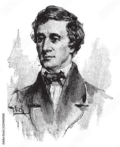 Fototapeta Henry David Thoreau, vintage illustration obraz na płótnie