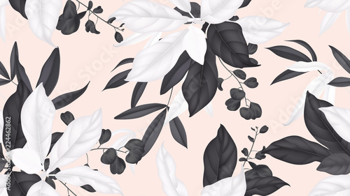 Floral seamless pattern, black and white magnolia leaves, eucalyptus leaves on light orange background
