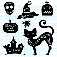 Hand Drawn Textured Halloween Set Of A Coffin, Jack-o-lanterns, Skull, Castle,cat And Spider Vector Illustrations.