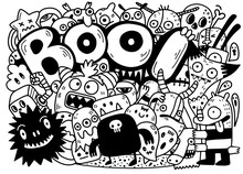 Happy Halloween Contour Outlin...