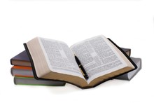 Open Bible With Pen And Other Books