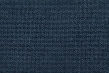 Dark Blue Fluffy Background Of Soft, Fleecy Cloth. Texture Of Light Nappy Textile, Closeup.
