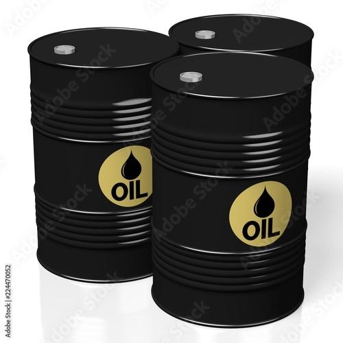 Fototapeta 3D oil barrels - isolated on white background obraz