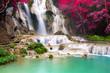 canvas print picture - Turquoise water of Kuang Si waterfall, Luang Prabang. Laos