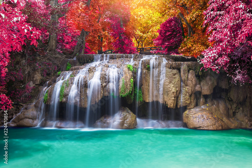 Tuinposter Watervallen Deep rain forest jungle waterfall