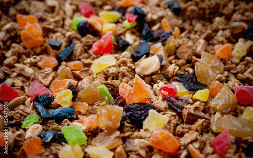 Healthy Snack, Meal. Freshly Toasted Organic Homemade Granola Cereal, Muesli Mixed With Honey
