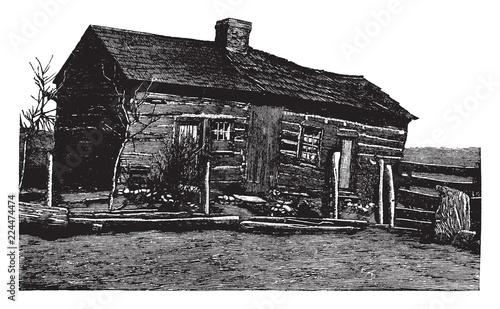 Fotografia  Lincoln Home vintage illustration.