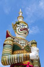 Giant,demon Guardian Statues Decorating The Buddhist Temple Wat Arun Or Wat Arun Ratchawararam Ratchawaramahawihan In Bangkok,Thailand
