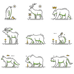 Winter Animals Cartoon in Outline Set