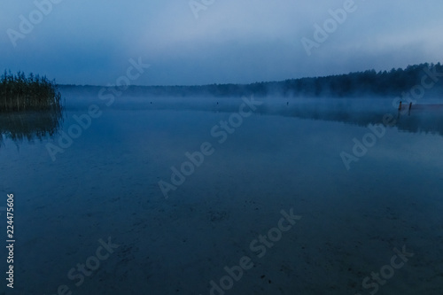Foto op Aluminium Nachtblauw Fog over the lake, twilight over the lake, very dense fog, dawn, blue sky over the lake, the morning comes, the forest reflects in the water, surface water, clear morning sky, gothic, Grim picture