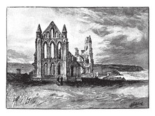 The Ruins Of Whitby Abbey, Vintage Illustration.