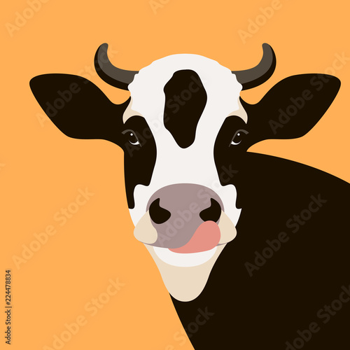 Fototapeta cow  face vector illustration flat style front
