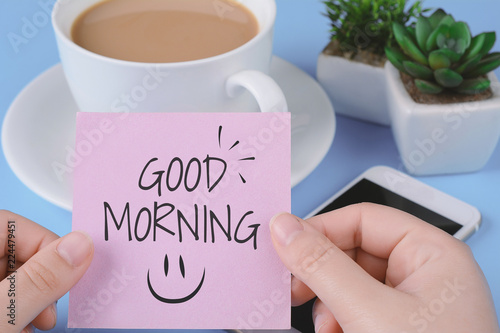 Fotomural Paper card with text good morning, cup of coffe and phone