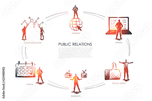 Photo Public relations - communication, jornal, radio and tv, social media, events set concept