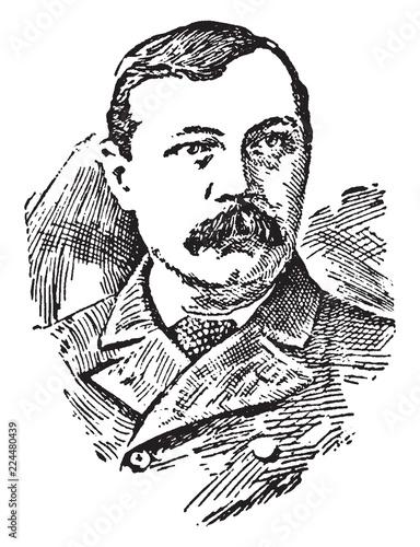 Sir Arthur Conan Doyle, vintage illustration Canvas Print